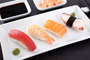 Hintergrundbilder Meeresfrüchte Sushi Sojasauce