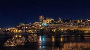 Fotos Spanien Haus Flusse Stein Nacht Straßenlaterne Zamora Städte