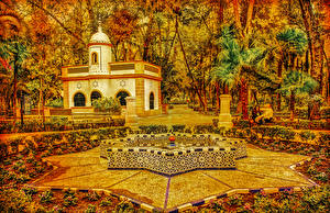 Bilder Spanien Park Herbst Haus Springbrunnen Design Palmengewächse Bäume Seville Maria Luisa Park