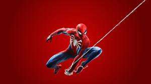 Image Spiderman hero Red background 2018 ps4 Games