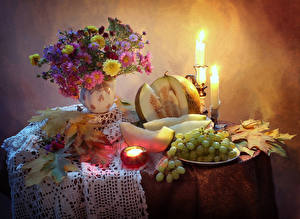 Wallpaper Still-life Asters Candles Grapes Melons Table Vase Foliage Food Flowers