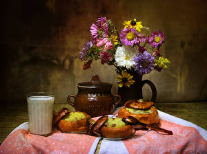 Pictures Still-life Asters Milk Pumpkin Vase Highball glass Flowers Food