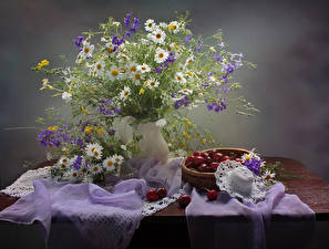 Image Still-life Bouquets Camomiles Cherry Table Hat Flowers