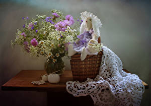 Wallpapers Still-life Bouquets Camomiles Centaurea Table Wicker basket Doll