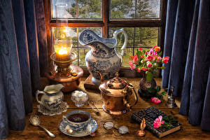 Picture Still-life Paraffin lamp Bouquets Roses Kettle Tea Pitcher Eyeglasses Cup Sugar Food Flowers