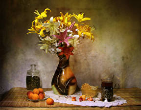 Picture Still-life Lilies Apricot Tea Sweets Vase Highball glass Flowers Food