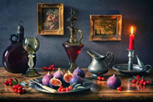 Fotos Stillleben Malerei Kerzen Wein Echte Feige Beere Weinglas Flasche Kanne Lebensmittel