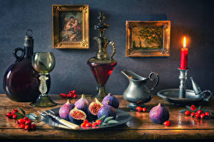 Pictures Still-life Pictorial art Candles Wine Common fig Berry Stemware Bottle Pitcher Food