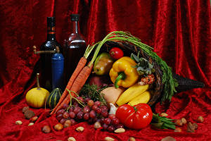 Picture Still-life Wine Vegetables Fruit Grapes Bell pepper Tomatoes Carrots Nuts Bottle Food