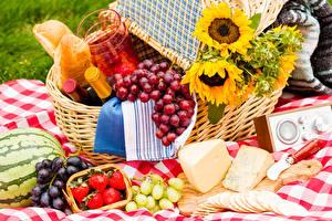 Fotos Sonnenblumen Weintraube Käse Wassermelonen Erdbeeren Picknick Weidenkorb