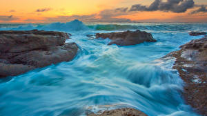 Pictures Sunrises and sunsets Sea Waves Stones Nature