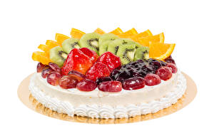 Picture Sweets Cakes Fruit Strawberry Chinese gooseberry White background Food