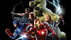 Picture The Avengers (2012 film) Scarlett Johansson Iron Man hero Thor hero Hulk hero Captain America hero Chris Hemsworth Black background Movies Celebrities