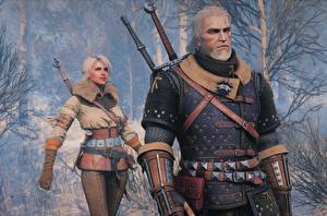 Pictures The Witcher 3: Wild Hunt Geralt of Rivia Warriors Ciri Girls