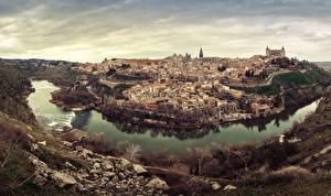 Bilder Toledo Spanien Haus Fluss Abend Städte