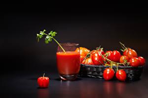 Bilder Tomate Fruchtsaft Weidenkorb Trinkglas das Essen