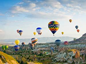 Hintergrundbilder Türkei Park Fesselballon Felsen Goreme national park Natur