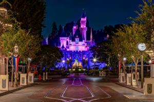 Wallpaper USA Disneyland Parks Castle California Anaheim Night time Street lights Design Cities