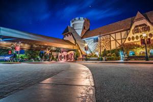Wallpapers USA Disneyland Parks Houses California Anaheim Night Street lights Majestic Garden Hotel Cities