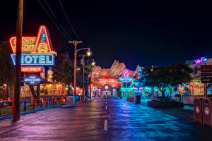 Image USA Disneyland Parks Building Roads California Anaheim HDRI Design Night time Street lights Cities