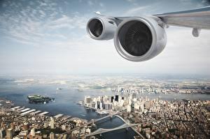 Hintergrundbilder USA Von oben Tragfläche Turbine New York City Motor Städte