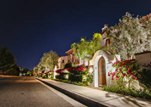Pictures USA Houses Anaheim Street Shrubs Night time Cities