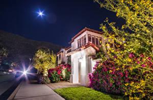 Image USA Houses California Anaheim Street Night Rays of light Bush Moon Cities