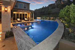 Photo USA Houses California Mansion Pools Night time Street lights Trabuco Canyon Cities