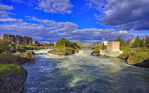 Bilder Vereinigte Staaten Flusse Brücken Himmel Wolke Spokane River Städte