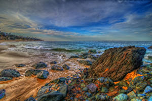 Wallpaper USA Sea Coast Stones Scenery Waves California HDR Laguna Beach Nature
