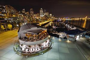 Fotos Vereinigte Staaten Seattle Gebäude Flusse Bootssteg Abend Washington Stadtstraße