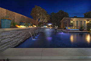 Pictures USA Villa California Swimming bath Night time Street lights San Juan Capistrano