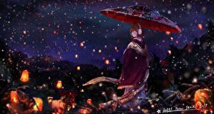 Papel de Parede Desktop Guarda-chuva Quimono Noite Lampião (lanterna) Meninas