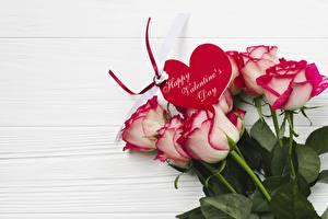 Papéis de parede Dia dos Namorados Rosas Coração Flores