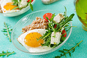 Fotos Gemüse Käse Teller Spiegelei