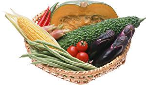 Hintergrundbilder Gemüse Aubergine Mais Kürbisse Tomate Weißer hintergrund das Essen