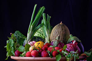 Picture Vegetables Fruit Melons Plums Onion Strawberry Black background Food