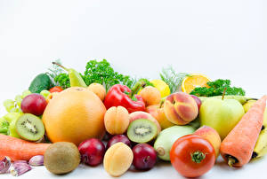 Wallpaper Vegetables Fruit Tomatoes Carrots Plums Peaches Apples Chinese gooseberry Grapefruit White background Food