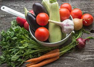 Bilder Gemüse Tomaten Mohrrübe Knoblauch Aubergine Zwiebel