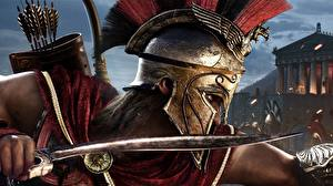 Bilder Krieger Assassin's Creed Assassin's Creed Odyssey Helm Dolch Spiele