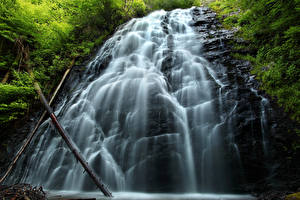 Hintergrundbilder Wasserfall Felsen Ast Natur