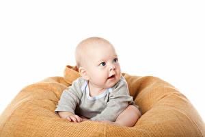 Bilder Weißer hintergrund Säugling Starren Kinder