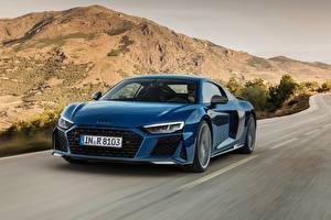 Sfondi desktop Audi Blu colori Velocità R8 2019 macchine