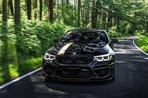 Fondos de escritorio BMW Frente Negro Metálico 2018 Biturbo Manhart M5 V8 F90 MH5 700 automóviles