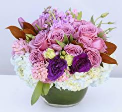 Hintergrundbilder Sträuße Rosen Lisianthus Hortensien Levkojen Blumen