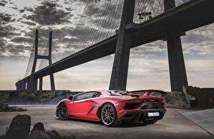Pictures Bridges Lamborghini Red Aventador SVJ 2018 Cars