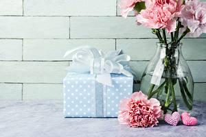 Hintergrundbilder Nelken Geschenke Vase Blumen