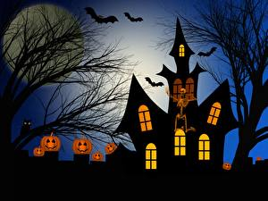 Image Castles Halloween - Movies Pumpkin Silhouette Branches