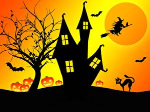Images Castle Witch Halloween Silhouettes