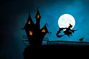 Pictures Castle Witch Halloween Silhouette Moon